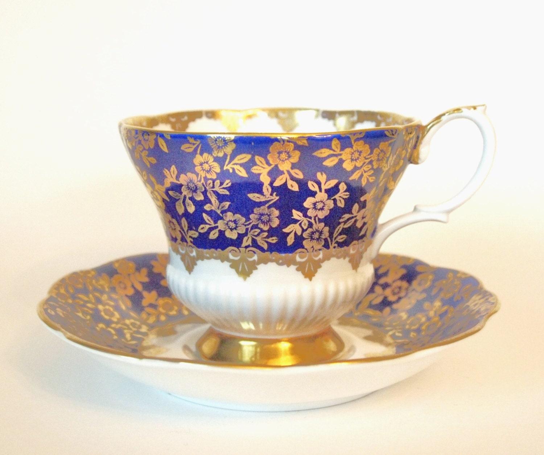 vintage tea cup set royal albert teacup and saucer cobalt. Black Bedroom Furniture Sets. Home Design Ideas