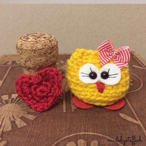Jacquelyn the mini owl Amugurumi with a heart finished item comes in a box