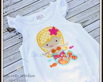 Custom Embroidered Girls Mermaid Shirt - Girls Summer Applique Shirt-  Mermaid Applique Shirt or Bodysuit