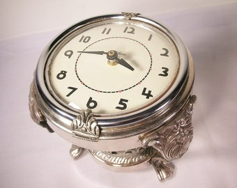 Unique Sterling Plate Desk Clock - Assembly of Found Pieces - Elegant Feminine Look - One Of A Kind