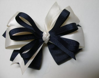 Holiday Dark Navy Blue Ivory Satin with U Pick Color Options Hair Bow Toddler Girl