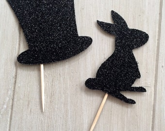 Magic Cupcake Toppers, Magic Party, Magic Birthday Cupcake Toppers, Mix of 12 Glitter Rabbit and Magic Hat
