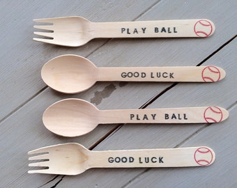 Baseball Inspired Birthday Party or Baby Shower Sporting Event, Team Stamped Wooden Ice Cream Spoons or Forks