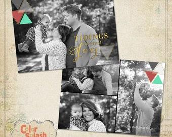 Digital Photoshop Christmas Card Template for photographers PSD Flat card