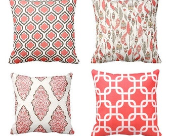 Pillows, Decorative Pillows,Throw Pillow, Coral Pillows, Coral Throw Pillows, Pillow Covers, Cushions, Beach Decor, Wedding, Shower Gift