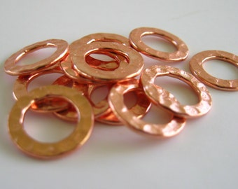 Hammered Copper Rings 12mm Hoops Circles Metal Copper Plated Links Findings Wholesale Jewelry Supplies Best Online Supply CrazyCoolStuff