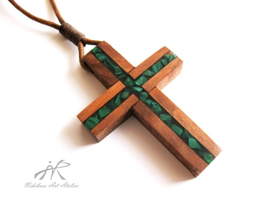 Crucifix Pendant Wood Cross Necklace Inlaid With Malachite