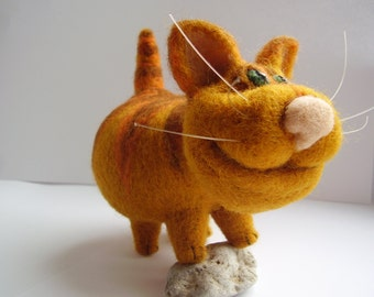 Needle felted cat,red,orange,striped
