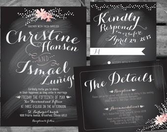 Floral Chalkboard Printable Wedding Invitation Stationary