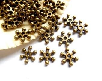 50 Antique Bronze Snowflake Spacers - 17-AB-4