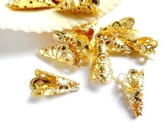 10 Gold Filigree Cone Bead Caps - 18-GC-7