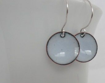 Pale Blue Enameled Earrings - Isle Blue