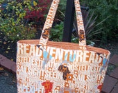 Travel and Adventure Tote Bag with Orange Complementary Lining