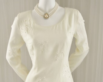 1980/90 Beaded White Shift Dress for Special Occasion/Honeymoon/Graduation