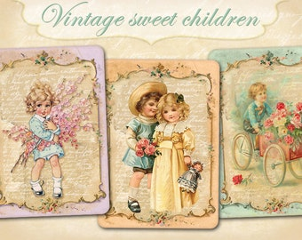 Vintage children cards Greeting cards Gift tags cards Printable collage Vintage images on Digital collage sheet
