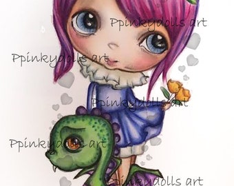 INSTANT DOWNLOAD Digital Digi Stamps..by Chrishanthi's art,Dragon.''