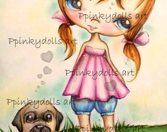 INSTANT DOWNLOAD Digital Digi Stamps..by Chrishanthi's art 'Once upon a time''