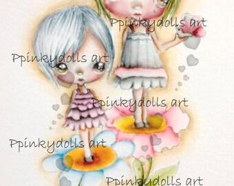 INSTANT DOWNLOAD Digital Digi Stamps..by Chrishanthi's art,Flower sisters''