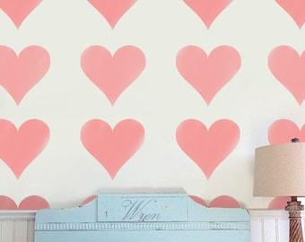 Heart Stencil, Heart nursery décor, Nursery wall art, nursery stencil, painting stencil, stencils, wall stencil, decorating stencil