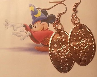 MaGical Mickey Mouse DISNEY Pressed Penny Earrings! So Shiny!