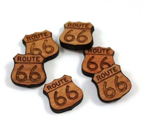 Laser Cut Supplies-8 Pieces.Route 66 Charms - Laser Cut Wood Route 66 -Earring Supplies- Little Laser Lab Sustainable Wood Products