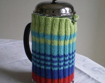 Striped Cafetiere French Press Cosy pattern PDF