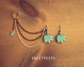Gold Ear Cuff with Turquoise Elephant and Bronze Gold Chainmaille
