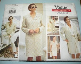 VOGUE 1747  Career Wardrobe Tamotsu UNCUT sizes 18-20-22