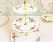 "Royal Albert ""Moss Rose "" 3 Tier Cake Stand"