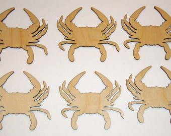 Crab Shape Wood Cut Out Unfinished Wooden Blue Crabs  6 pieces