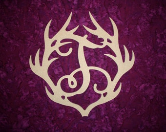"""Antler Monogram Letter T Wood Cut Out MDF Paintable Letters 12"""" Tall"""