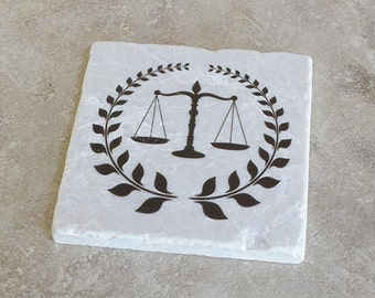 Lawyer Tumbled Stone Coasters- set of 4 w/holder   Attorney at Law