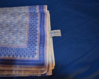 ON SALE    Vintage Scarf by Gloria Vanderbilt in Blue called Glorious