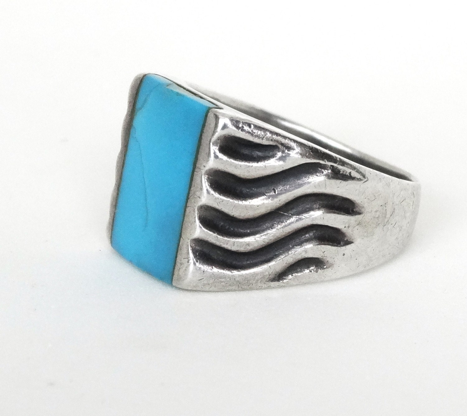 vintage mens turquoise ring sterling silver square w wavy