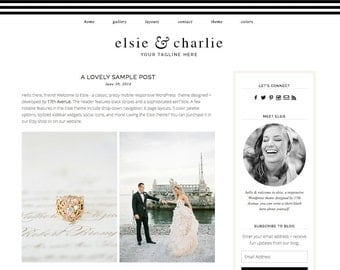 "Blogger Template Premade Blog Design - ""Elsie & Charlie"" Blogger Theme"