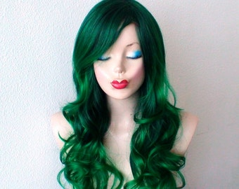 Irish Green wig. Ombre wig. Green hair Long Curly hairstyle wig.Durable Heat friendly synthetic wig for everyday wear or Cosplay.