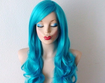 Teal Blue wig. Long curly volume hair long bangs wig. Durable Heat friendly synthetic wig for daily use or cosplay.