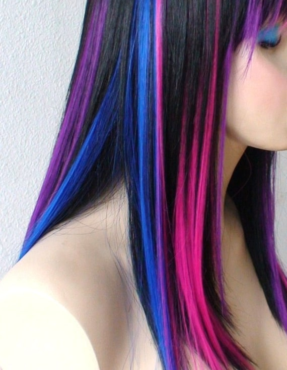 Black pink purple blue wig straight black hair with color black pink purple blue wig straight black hair with color under wig durable heat resistant synthetic wig for daily use or cosplay pmusecretfo Image collections