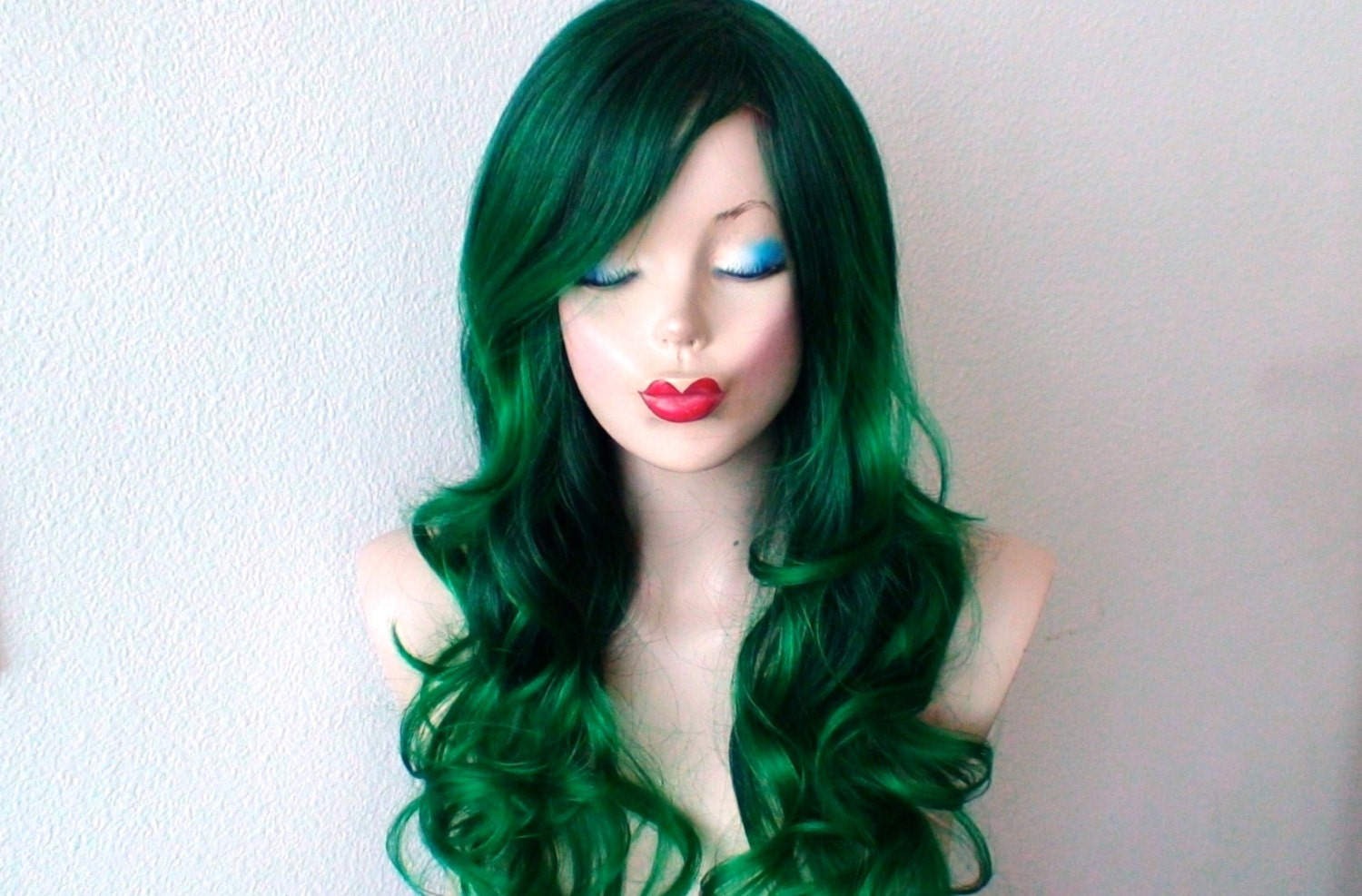 Irish Green Ombre Wig Green Color Long Curly Hairstyle Long