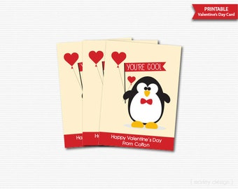 Valentines Day Cards Classroom Cards Printable Personalized Valentine's Day Penguin Digital Gift Tags Kids Valentines You're Cool