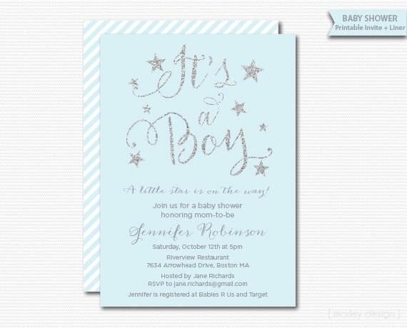Silver Glitter Invitation Baby Boy Baby Shower Blue Silver Stars New