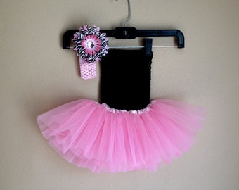 Pink and Black Tutu Dress with matching Pink Zebra Daisy