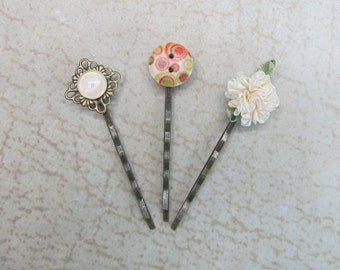 Ivory romantic hair pins jeweled bobby pins gift ideas for her floral button