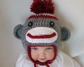 Crochet Sock Monkey Hat with Ear Flaps in Gray, Red and White and  Large Pom-Pom