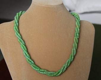 24 Inch Triple Strand of Green Wood Beads and Silver Tone Findings, Resort and Cruise Wear, Birthday gift, Easter gift, Mother's Day,