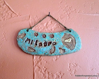 Milagro - Stamped, Textured Terracotta Sign, Milagro Heart, Butterflies, Stars, Gilders Paste, Inspirational Words, Miracle, Spiritual Art