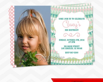 Pennant Banner Birthday Party Invitation