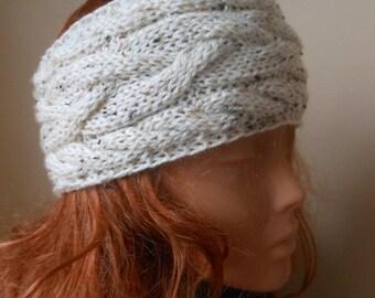 Cable Hand Knit Headband  Ear Warmer Head Warmer Oatmeal Cream Choose Color