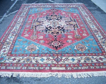 "1980s Hand-Knotted, Heriz Style, Chinese Rug, Room-Sized 8'6"" x 12' (3103)"