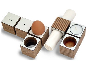 "Set of 2 ""eicube"" egg cups & napkin holder"